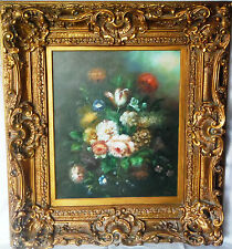 Fine 18th C Old Master French School Still Life of Flowers Original Oil Painting