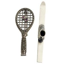 VINTAGE STERLING SILVER SPORTS EQUIPMENT BROOCHES: TENNIS RACKET W. GEMS & SKI