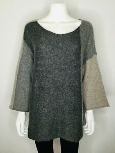 NWT EILEEN FISHER Gray Size X Large 3/4 Bell Sleeve Tunic Sweater