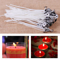 "100x 6""Candle Wick Pretabbed Cotton Core Waxed With Sustainers for Candle Making"