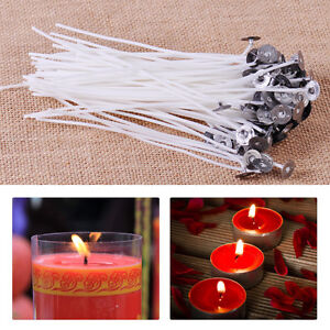 """100x 6""""Candle Wick Pretabbed Cotton Core Waxed With Sustainers for Candle Making"""