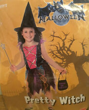 Pretty Witch Halloween Outfit with Hat For Girl 7-8 yrs NEW