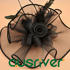 Fashion Race Day Hat Women Black Facinator Hat Wide Brim Hatinator Hats 1/box