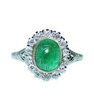 Antique Platinum Natural Carved Emerald Old Miner Diamond Ring Estate GIA