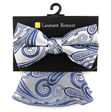 Laurant Bennet Mens Bow Tie Pocket Round Blue Handkerchief Hanky Square New