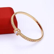 "Stunning 9ct 9k Yellow ""Gold Filled"" Girl white Stone Bangle Bracelet. 57mm Gift"