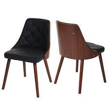 2x chaise de salle à manger Osijek, aspect noix, bois cintré ~ similicuir, noir