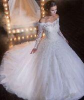 Neu Sweep Zug Hochzeitskleid Brautkleid Schulterfrei Applikationen Spitze Kleid