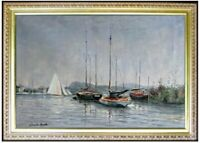Framed Quality Hand Painted Oil Painting, Monet Pleasure Boats Repro, 24x36in