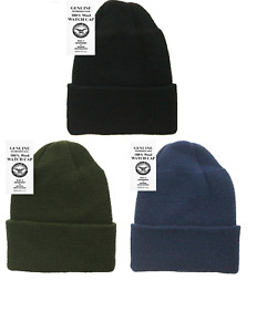3-Pack 100% Wool Watch Cap -  Government Contractor, US Made, Black, Navy, & OD