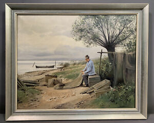 Vintage FISHERMAN Mending FISHING NETS Old FISH CAMP Scene BEACH SHORE PAINTING