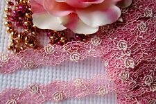 Amazing rose pink with gold flower embroidery lace trim - price for 1 yard