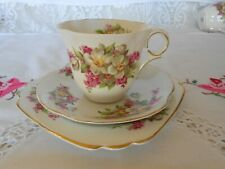 "VINTAGE ART DECO BONE CHINA TEA SET TRIO VICTORIA C&E ""APPLE BLOSSOM"""