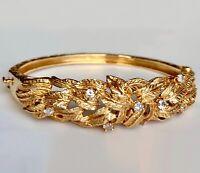 """14K Yellow Gold Diamond Hinged Bangle Foliage Laurel Leaf Vintg Bracelet 6 1/2"""""""