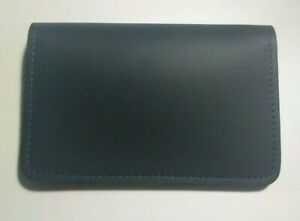 Genuine Leather Top Stub Checkbook Cover - Made in The USA - Navy Blue
