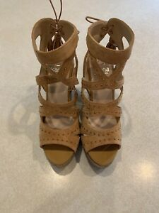 Kanna Espadrilles Sandal Wedge Heels Womens 40 Size 9 M Strappy Laces Camel