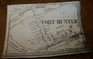 1866 ANTIQUE FORT HUNTER MOHAWK RIVER NY PHOTO OF MAP SCHOHARIE CREEK