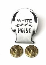White Noise Head Shape slogan Handcrafted in English Pewter Lapel Pin Badge