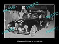 OLD LARGE HISTORIC PHOTO OF ALFA ROMEO 1900 RACE CAR 1953 MILLE MIGLIA 2