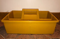 "Vintage Plastic Carrier Caddy Tools Cleaning Supplies Yellow Fesco 15"" x 9.75"""