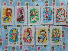 Set of 9 vintage/retro cute game/playing cards - animal rummy (not full game)