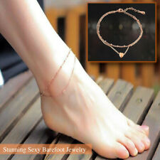 Women's Sexy Gold Plated Love Heart Pendant Ankle Chain Anklet Bracelet Barefoot