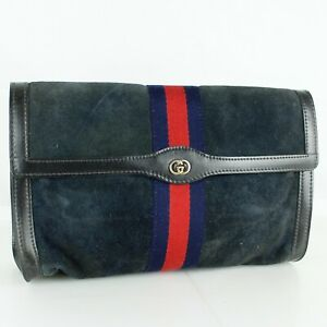 GUCCI PERFUMS Sherry Webbing Suede Clutch Bag Purse Vintage Navy