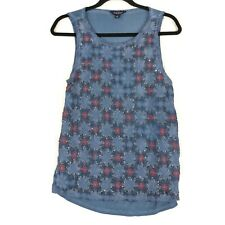 Lucky Brand blue beaded front sleeveless tank top S