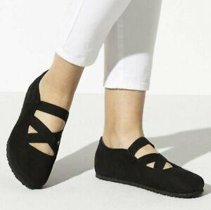BIRKENSTOCK Schuhe Santa Ana 1016311 Schwarz schmale Weite Echtleder Ballerina