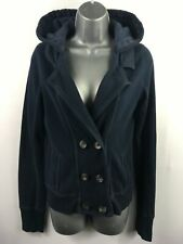 WOMENS ABERCROMBIE & FITCH NAVY BLUE HOOD DOUBLE BREASTED CARDIGAN JUMPER MEDIUM
