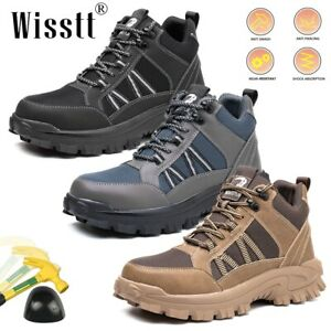 Mens Steel Toe Labor Non Slip Sneakers Leather Climbing Work Boots Safety Shoes