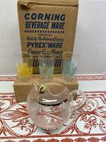 Vintage Corning Beverage Ware By Pyrex Juice Set In Pastel Colors Original Box