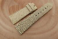 24mm/20mm Beige Genuine Lizard Skin Leather Watch Strap Band Handstitched