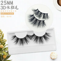 3D 25mm Long Mink Cross Thick Fake Eyelashes Soft False Handmade Lashes BW