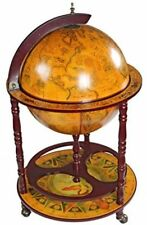 World Globe Bar Serving Cart Portable Wheeled Liquor Cabinet Old Italian Globes