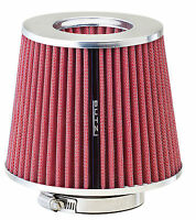 Butzi Universal Car Open Induction Kit Stream Air Filter with Adaptors -Red/Pink