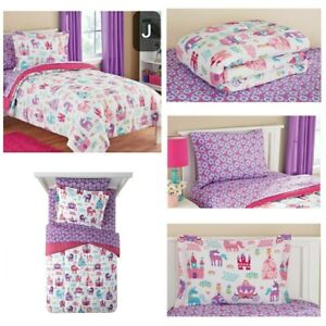 New, 5 Pieces, Mainstays Kids Pretty Princess Coordinated Bedding Set. Twin
