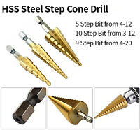 3pcs Titanium HSS Steel Step Cone Drill Hole Cutter Set Tool Tackle for DeWalt
