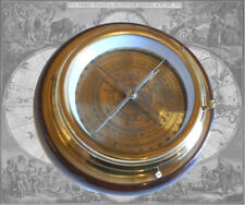 Kompass Ø15cm Peilkompass Messing auf Mahagonisockel Tischkompass Schiffskompass