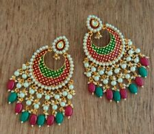 Ethnic Maroon Green Meenakari Kundan Drop Dangle Fashion Earrings