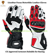 Lionstar Focus Motorbike Motorcycle Leather Racing Gloves CE Approved Armours