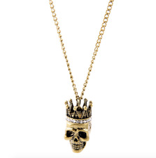 Betsey Johnson Rock Crystal pendant crown skull necklace jewelry N309