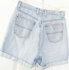 Vintage Guess USA high waisted cuffed roll-up denim shorts 80's 90's size 32