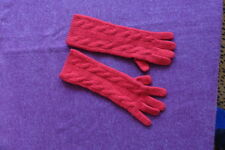 RALPH LAUREN COLLECTION 100% CASHMERE RED CABLE KNIT LONG GLOVES -SMALL -NEW