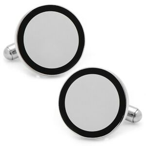 Ox and Bull Trading Co. Stainless Steel Round Engravable Framed Cufflinks