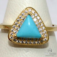 Genuine Blue Turquoise Ring Women Birthday Jewelry 925 Sterling Silver Size 7.5