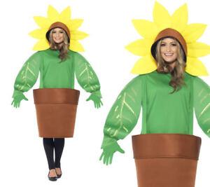 Adult's Sunflower Costume World Book Day Week Fancy Dress Flower Pot New