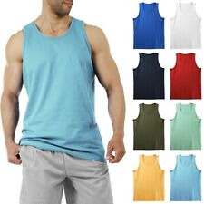 Mens Tank Top Muscle Gym Sleeveless Plain T-Shirts Tee A-Shirt 100%Cotton NEW