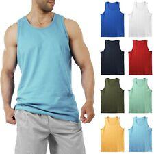 Mens Tank Top Muscle Gym Sleeveless Plain T-Shirts Tee A-Shirt 100%Cotton NEW