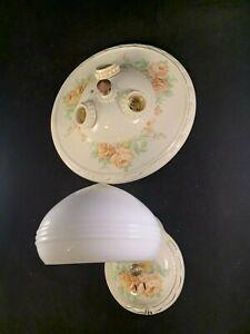 Vintage Set Of 1930-40s Porcelain Flush Mount 3 Light Fixture and Sconce
